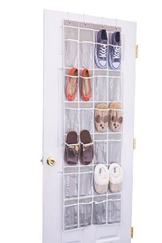 Home Novelties 24 Clear Pocket Over The Door Hanging Shoe Organizer