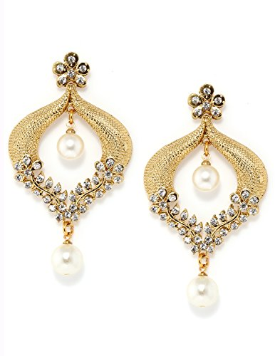 Bindhani White Cz Stone Chandbali Ethnic Drop Earrings For Girls