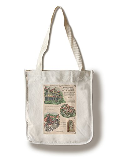Winchester Mystery House - San Jose, CA - Technical (100% Cotton Tote Bag - Reusable, Gussets, Made in - Shopping San Jose Ca