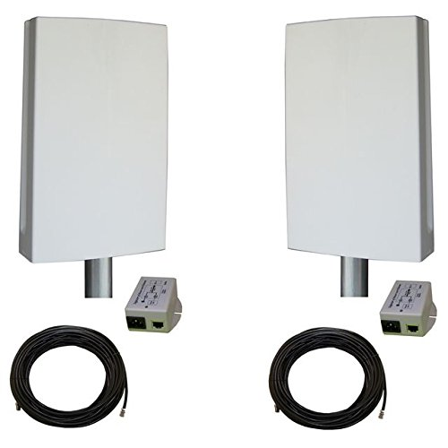 EZ-Bridge-LT2+ HD 100MB, 2.4GHz 802.11gn Pt/Pt Secure Bridge Pair, Shield Outdr 75' CAT5 Cables + Surge Prot 24V PoE Ins, Plug n Play, 25dBm Out + 14dB Ant, 3mi Range, Wall/Pole(1-2