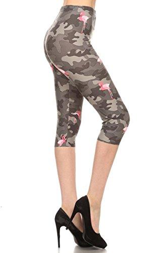 S515-CA-OS Flamingo Grey Camo Capri Print Leggings