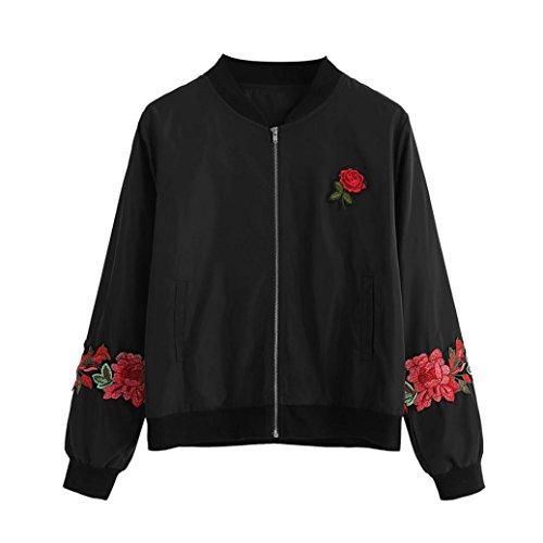 Decor Stand Collar - Kimloog Women Floral Print Long Sleeve Stand Collar Retro Zipper Up Bomber Jacket Coats (M, Black)