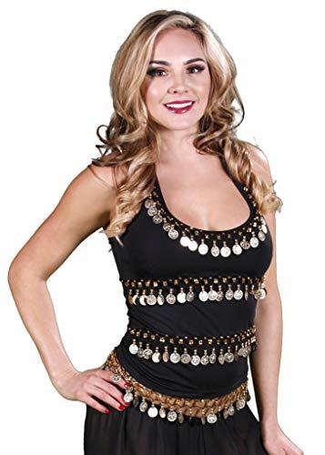 Belly Dance Lycra Stretchy Halter Top (Black, Large) - TP01