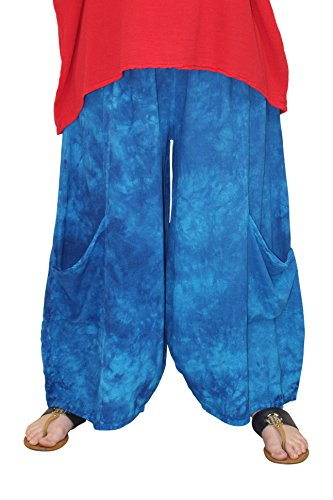 Oh My Gauze Women's Lee Pant Wide Leg Cotton Crop Pant (Washed Blueberry)