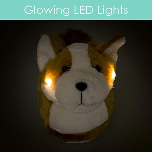 efc69b1dee70 Silver Lilly LED Light Up Corgi Slippers - Novelty Dog Animal House Shoes w  Foam