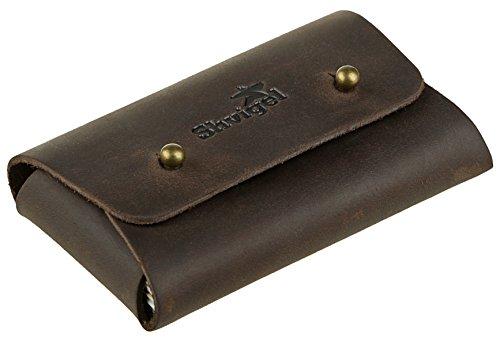 Shvigel Business Card Holder Leather - Visiting Card Case - Front Pocket Card Wallet Organizer (Brown Vintage)