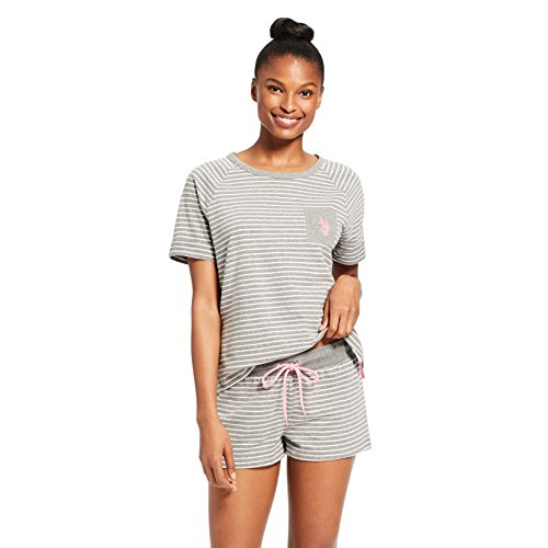 - U.S. Polo Assn. Womens Short Sleeve Crewneck Striped Shirt Shorts Pajama Sleep Set Charcoal Heather Large