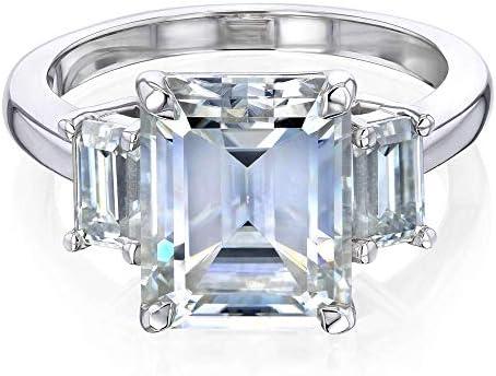 Kobelli 4.1ct Emerald Moissanite 3-Stone Ring (FG/VS)