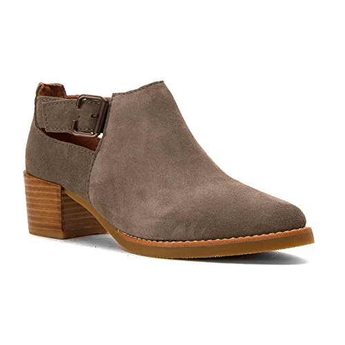 ALL BLACK Womens Heeled Buckle Bootie Boots Grey