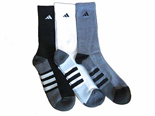 Crew Socks Tennis Adidas (adidas Mens Cushioned Color Crew Socks (3-Pack) (Black/White/Gray),Large)