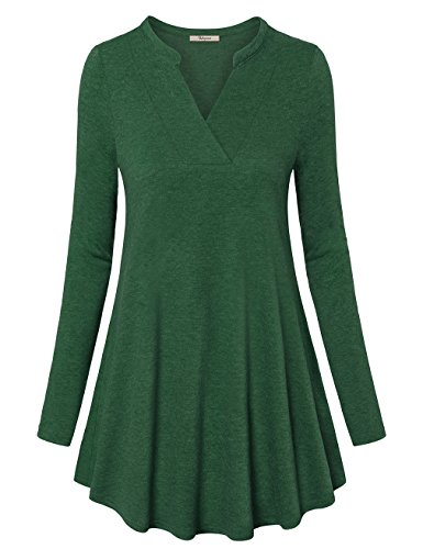 Long Sleeve T Shirt Women, Bebonnie Women's Winter Warm Cotton Tunic Tops Casual Loose Fit Blouse Pullover Green M