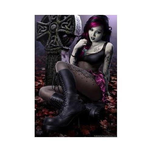 Buyartforless Sexy Goth Girl Cleo in Cemetery Gothic by Tom Wood 24x36 Gothic Art Print Poster Wall D'cor Arcade Crypt Death Bats Victorian Lace Boots -