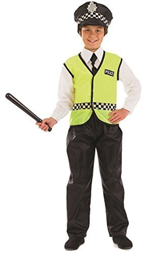 [Fancy Me Big Boys' Policeman Police Officer Uniform Law Enforce T Cop Book Day 8-10 Years Yellow] (Policeman Uniform)