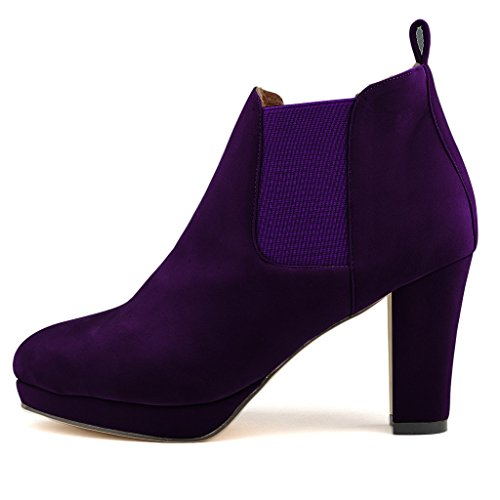 ZriEy Women's Winter Platform High Heel Ankle Boots Casual chunky Heel Pumps Boot Shoes Velvet Purple size 6