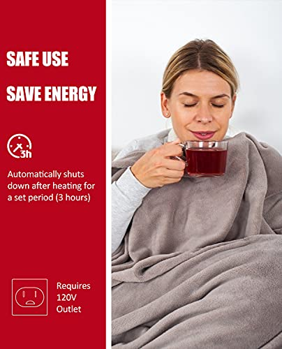Heated Blanket Electric Throw with Double-Layer Flannel, 6 Heating Levels, 3 Hours Auto-Off, Fast Heat & ETL Certification, Home Office Use & Machine Washable, 50x60 inches