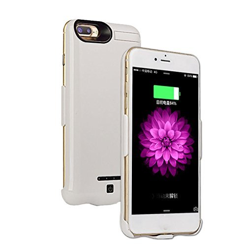 Iphone 8 Plus/7 Plus Battery Case Ultra Extended Backup Charger Power bank cover for iphone 8 Plus/7 plus 10000mAh(White)