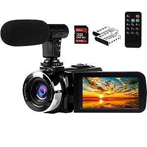 Flashandfocus.com 41o5T78fR0L._SS300_ Video Camera Camcorder with Microphone 2.7K Full HD YouTube Vlogging Camera 42.0 MP 18X Digital Zoom Webcam Camera…