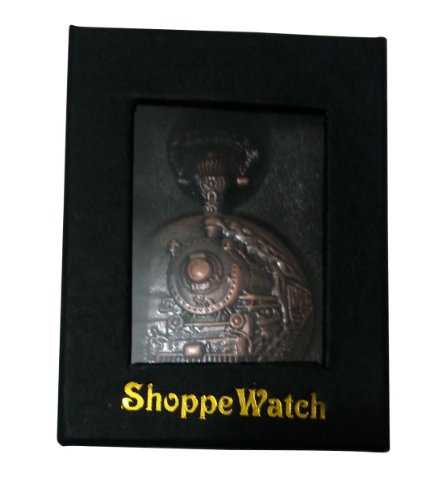 ShoppeWatch Pocket Watch with Chain Railroad Train Full Hunter Locomotive Steampunk Design PW-31 by ShoppeWatch (Image #5)