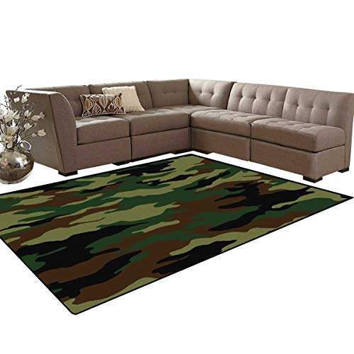 - Camo Bath Mat 3D Digital Printing Mat Fashionable Graphic Uniform Inspired Camouflage Clothing Design Extra Large Area Rug 6'6