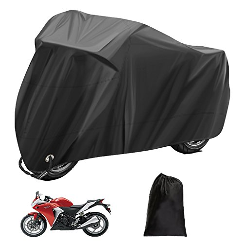 Estelatop Motorcycle Motorbike Cover, Waterproof Outdoor Protection Heavy Duty Rain Dust Moped Scooter Cover Lockholes Fits up to 96'' Motorbikes, XXL