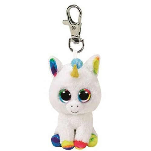 Ty PIXY White Unicorn Clip Key Chain Plush