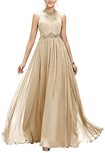VikDressy Women's A-Line Beading Pleats Prom Dress Bridesmaid Dress Tulle Evening Gown Champagne