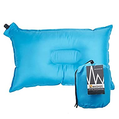 """Weanas® Lightweight Compressible Recreation Self Inflating Air Pillow, Rectangular 20"""" X 12"""", Comfortable, for Camping, Hiking, Travel, Backpacking, Picnic, Outdoor Sports (Blue)"""