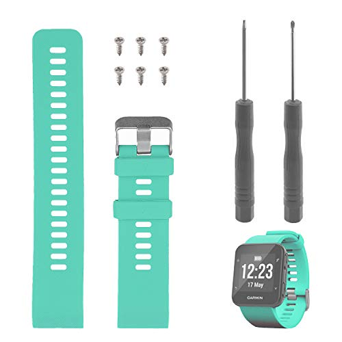 Band Replacement for Garmin Forerunner 35, Rukoy Soft Silicone Replacement Watch Band Strap for Garmin Forerunner 35 Smart Watch, Fit 5.56-9.96 (139mm-199mm) Wrist (Teal Green)
