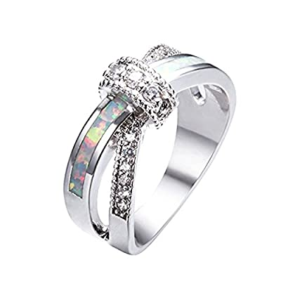 New Kissmilk Artificial Opal Ring Wedding&Engagement Ring White Artificial Opal 10KT White Gold Plated Rings for cheap