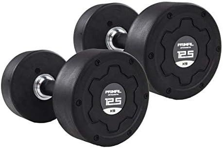Primal Strength Stealth Commercial Fitness - Mancuernas de Acero Inoxidable con Mango de Goma, 12,5 kg