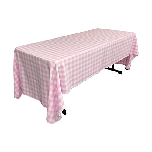 LA Linen Checkered Tablecloth, 60 by 120-Inch, Pink ()