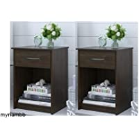 Set of 2 Nightstand MDF End Tables Pair Bedroom Table Furniture Multiple Colors (St. Alder)