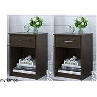 Set of 2 Nightstand MDF End Tables Pair Bedroom Table Furniture Multiple Colors (St. Alder)
