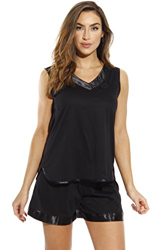 Size Top Plus Pajama (1531-BLK-3X Dreamcrest Short Sets / Women Sleepwear / Womans Pajamas,Black,3X Plus)