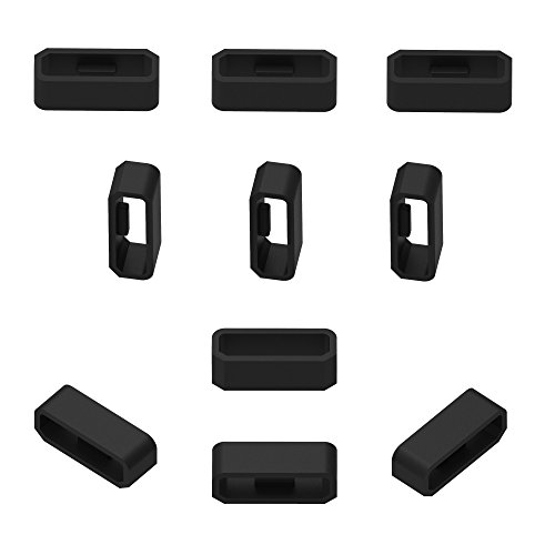 RuenTech Replacement Fastener Ring For Garmin Vivosmart HR/HR+ Bands(Pack of 10) Silicone Connector Security Loop for Vivosmart hr and Vivosmart hr plus(Black)