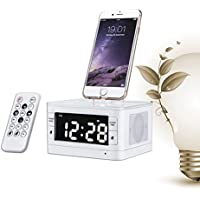 ChiTronic Stereo FM Clock Radio with Lightning Dock for iPhone 5/5S and 6/6Plus iPod