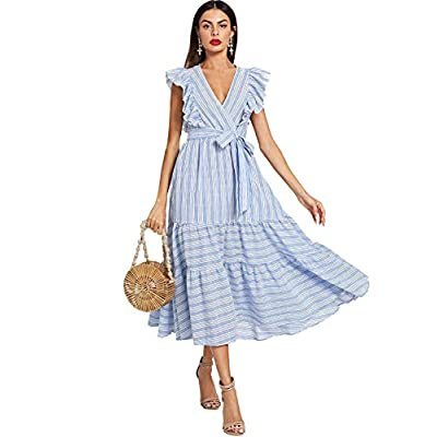 Milumia Women Wrap Dress Fit Flare Ruffle Sleeveless Summer Retro Sundress at Women's Clothing store