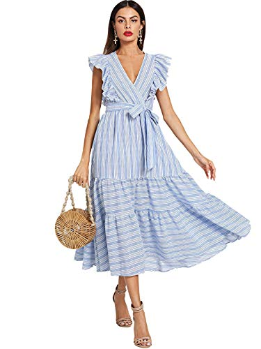 (Milumia Women Striped Wrap Fit and Flare Ruffle Sleeveless Sundress V Neck Sleeveless Dress Blue)