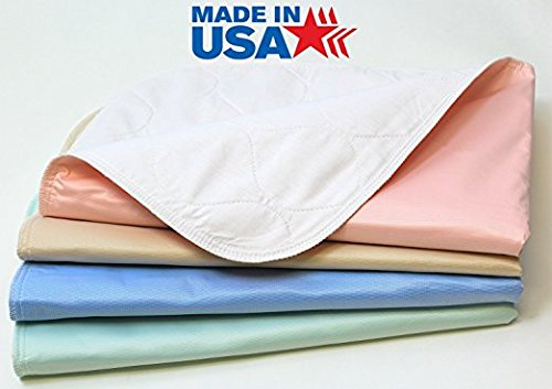 Washable Bed Pads / Reusable Incontinence Underpads 34x36 - 4 PACK - Blue, Green, Tan and Pink - Ideal For Children And Adults Wholesale Incontinence Protection