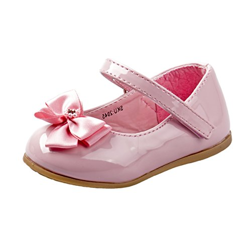 Josmo Baby Girls Patent Dressy Shoe Bow, Pink, Size 6'