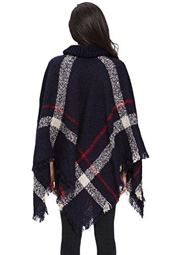 Nuevas señoras azul marino borla de cuello Poncho Cape capa chaqueta invierno desgaste Jersey talla UK 10–�?0