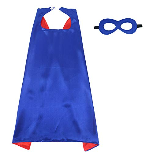 iROLEWIN Superhero Cape Adult Sized Costumes with Mask (110cm) (Red-Blue) -