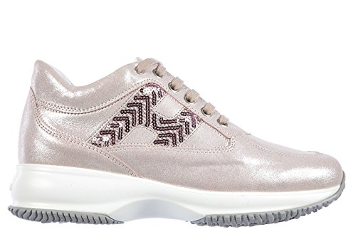Hogan scarpe sneakers donna in pelle nuove h spigata lurex rosa