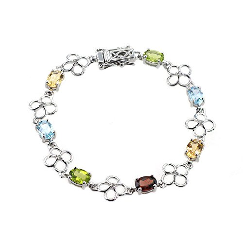 De Buman Genuine Peridot & Natural Multi-colored Gemstones with White Topaz 925 Silver Bracelet (Multi-colored gemstones)