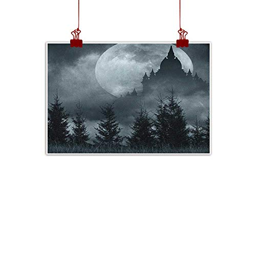 (Canvas Prints Wall Decor Art Halloween,Magic Castle Silhouette over Full Moon Night Fantasy Landscape Scary Forest, Grey Pale Grey 48