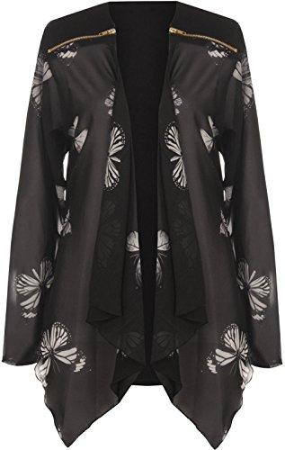 Nouvelle Dernière Taille Plus Longue Des Femmes De Papillon Impression En Mousseline De Soie Manches Dames Cardigan Zip Haut 14-28