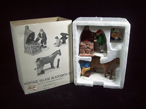 Porcelain Village Set - Department 56 Heritage Village Collection ; Dickens Village Blacksmith Set of 3 ; 1987 Retired ; Handpainted Porcelain Accessories #5934-0