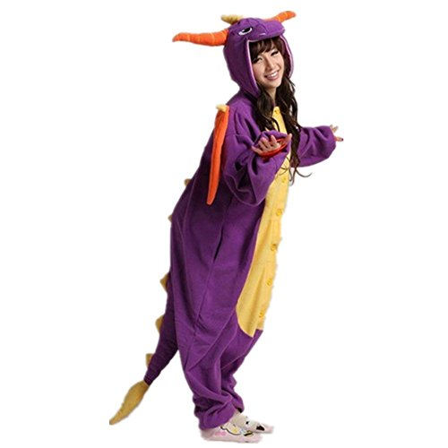 Colorfulworld Kigurumi Pijamas Juguetes y Juegos Animal Ropa Animales Pijama Cosplay Disfraces (M, Green Dargon) Purple Dargon