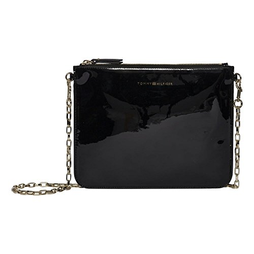 Tommy Hilfiger Mix N Match Pouch Patent With Chain - Black (Man-Made) accessories Bags One Size by Tommy Hilfiger
