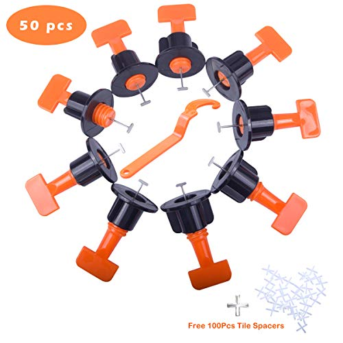 Moi Doi Reusable Tile Leveling System,50 Pcs Tile Leveler Spacers,Flat Ceramic Floor Wall Construction Tools with Special Wrench,Free 100 Pcs Tile Spacers